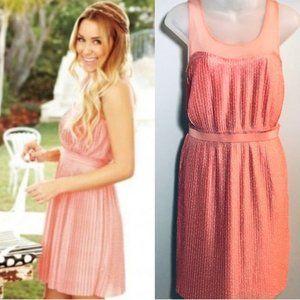 Lauren Conrad Pink Polka Dot Pleated Dress, Sz M